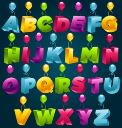 3d alphabet with party balloons vector image