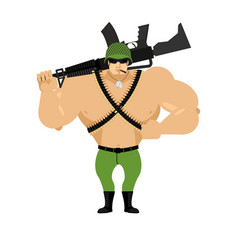 soldier and rifle on his shoulder warrior with vector image vector image
