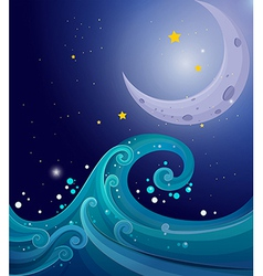An image of the sea waves with a moon vector image vector image