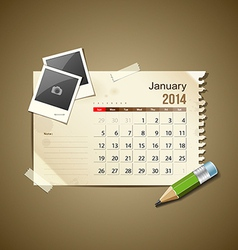 Calendar January 2014 vector image