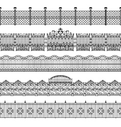 Fences Border Pattern Set vector image