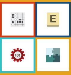 flat icon entertainment set of poker jigsaw vector image