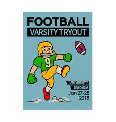 football varsity tryout cartoon vintage poster vector image