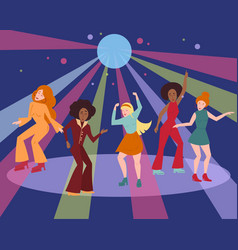 multi ethnic group in 1960 1970 cloth dance disco vector image