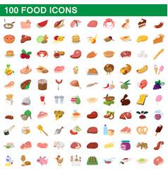 100 food icons set cartoon style vector image