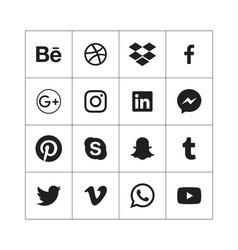 Black social media icons in alphabetical order vector