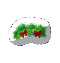color christmas wreath with red bow icon vector image