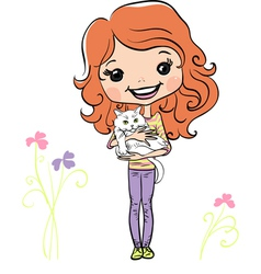 Cute girl with kitten vector image vector image