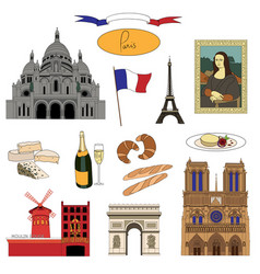 hand-drawn paris landmarks and food colorful set vector image