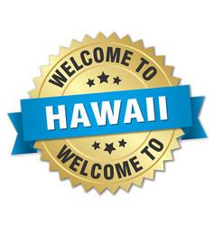 hawaii 3d gold badge with blue ribbon vector image vector image