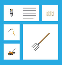 flat icon dacha set of cutter hay fork wooden vector image