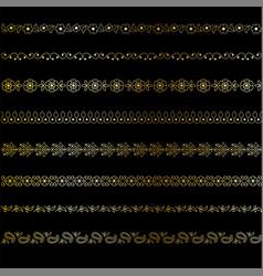 Gold paisley borders vector