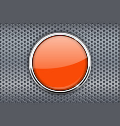 orange button with chrome frame on metal vector image