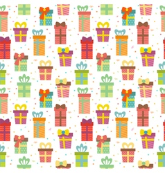 Seamless pattern with gift boxes Cute Birthday vector image vector image
