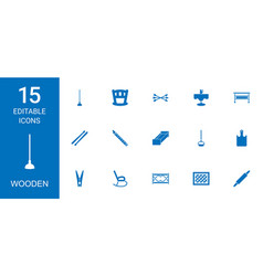 15 wooden icons vector