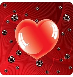 abstract background of shiny beads and red heart vector image