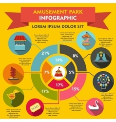 Amusement park infographic elements flat style vector