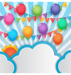 Balloon and party flags sky background vector