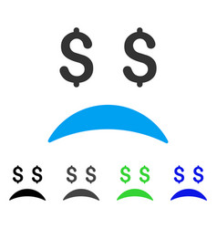 Bankrupt sad emotion flat icon vector
