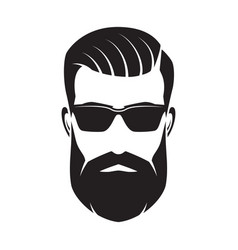 bearded man s face hipster character fashion vector image