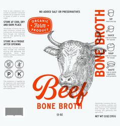 Beef bone broth label template abstract vector