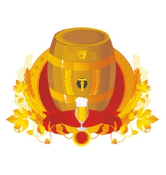 Beer a keg with a glass in a vignette vector image