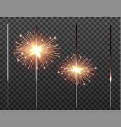 Bengal light christmas sparkler set vector
