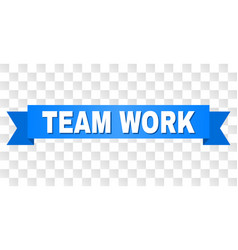 Blue ribbon with team work title vector