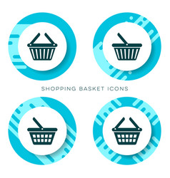 blue shopping basket icons vector image