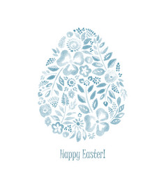 Blue watercolor floral easter symbol egg vector
