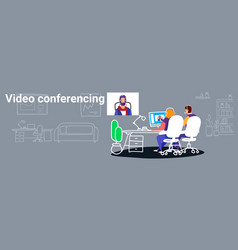 Businesspeople doing video conferencing colleagues vector