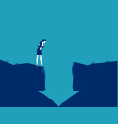 Businesswoman looking into a hole in arrow vector