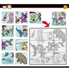 Cartoon animals jigsaw puzzle game vector