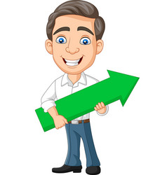 cartoon young businessman holding a green arrow vector image