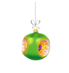 christmas green glass ball with with gold vector image