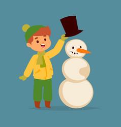 christmas kid boy character playing winter vector image