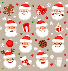 christmas seamless pattern with santa claus vector image