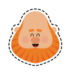 Chubby red hair man face icon image vector