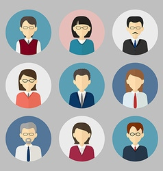 Colorful business people face Circle icons set vector