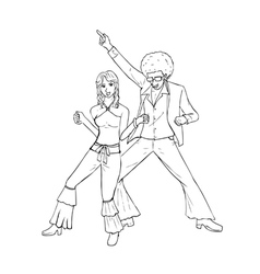 Couple dancing in the 70s fashion style vector