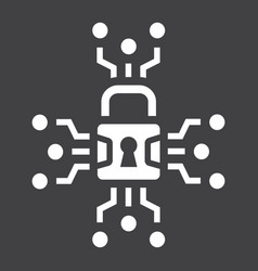 cyber security solid icon padlock and security vector image