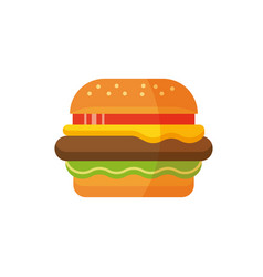 Delicious hamburger flat design burger icon vector