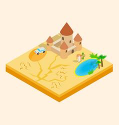 Desert oasis clip art isometric style vector