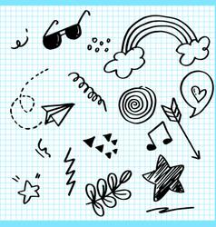 Doodle set elements on paper arrow heart love vector