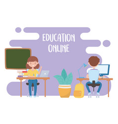 Education online teacher and student virtual vector