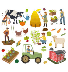 Farmers do agricultural work planting vector