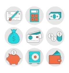 Finance outline icons vector image