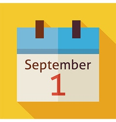 Flat back to school september calendar with long vector