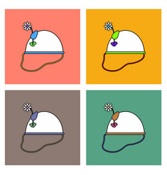 flat icon design collection military helmet with vector image
