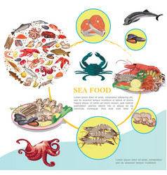 flat seafood colorful template vector image